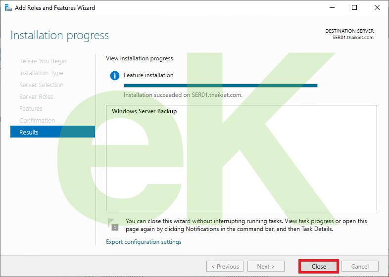 Cài đặt và cấu hình Windows Server Backup